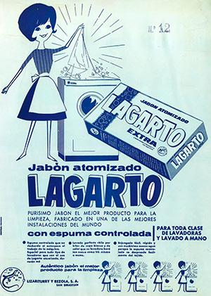 1962---LAGARTO---Jabon-atomizado---Anuncio-Deterg-Máquina-Espuma-Controlada
