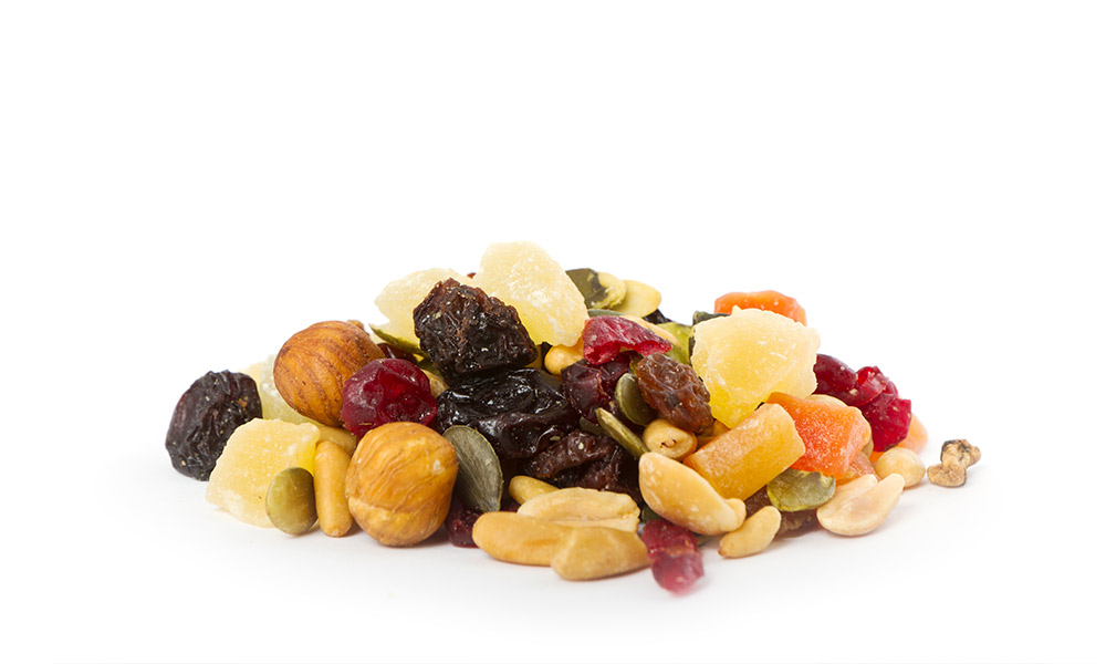 pasas y frutas escarchada